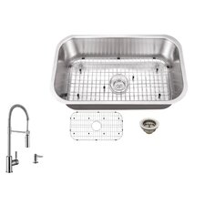 "30"" x 18"" Single Bowl Undermount Kitchen Sink with Faucet"