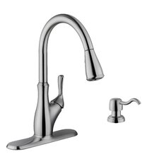 Single Handle Gooseneck Kitchen Faucet with Soap Dispenser