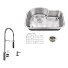 "31.5"" x 21.13"" Single Bowl Undermount Kitchen Sink with Faucet"