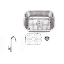 """21.5"""" x 16"""" Single Bowl Kitchen Sink with Faucet"""