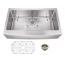 "36"" x 20"" Stainless Steel 16 Gauge Apron Front Single Bowl Kitchen Sink"