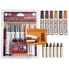12 Piece Furniture Restoration Wood Stain Markers with Filler Sticks