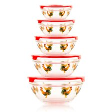 10-Piece Stackable Rooster Design Glass Storage Bowl Set