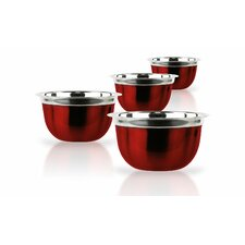 4 Piece Red Stainless Steel Bowl Set