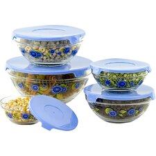 10-Piece Stackable Glass Storage Bowl Set