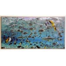 Gerahmtes Kunstdruck Schwarzspitzenhaie und tropische Fische in Lagune