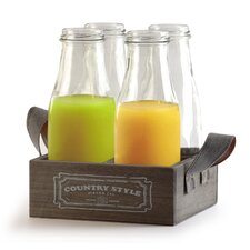Country 5 Piece Milk Bottles and Tray Set
