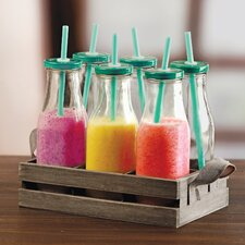 Country 13 Piece Milk Bottles and Straw Set