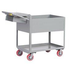Deep Shelf Steel Utility Cart with Writing Shelf and Storage Pocket