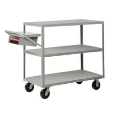 "30"" x 76"" Multi-Shelf Utility Cart with Writing Shelf and Storage Pocket"