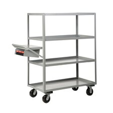 "30"" x 64"" Multi-Shelf Utility Cart with Writing Shelf and Storage Pocket"