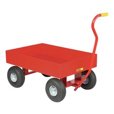 "24"" x 36"" Steel Deck Wagon Truck with 6"" Sides and Pneumatic Wheels"