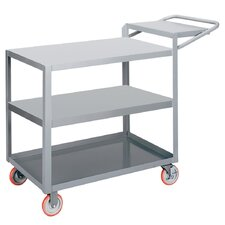 "18"" x 48"" 3-Shelf Utility Cart with Writing Shelf"