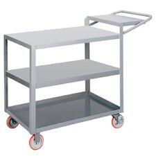 "24"" x 64"" 3-Shelf Utility Cart with Writing Shelf"