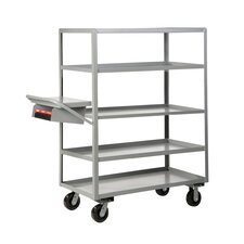 Multi-Shelf Utility Cart with Writing Shelf and Storage Pocket