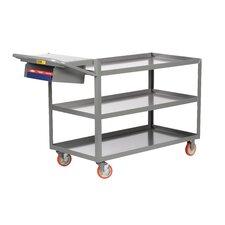 """18"""" x 48"""" 3-Shelf Utility Cart with Writing Shelf and Storage Pocket"""