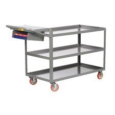 """24"""" x 52"""" 3-Shelf Utility Cart with Writing Shelf and Storage Pocket"""