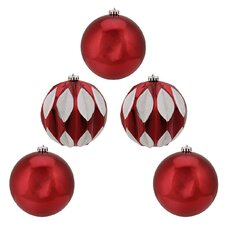 5 Piece Leaf Glittered Ball Christmas Ornament Set