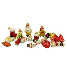 18 Piece Snowman, Santa, Nutcracker and Gingerbread Figure Christmas Ornament Set