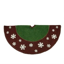 Country Christmas Tree Skirt with Snowflake Appliques