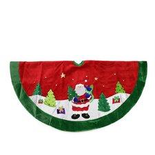 Velveteen Santa Claus Sequined Christmas Tree Skirt with Trim