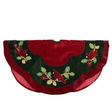 Cardinal Embroidered Christmas Tree Skirt with Scalloped Trim