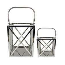 Modern Elegance 2 Piece Metal and Glass Lantern Set