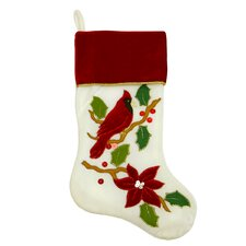 Embroidered Cardinal Bird Velveteen Christmas Stocking with Cuff