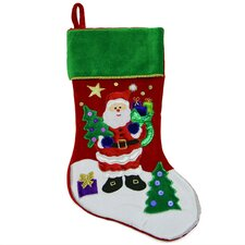 Velveteen Santa Claus Sequined Christmas Stocking with Cuff