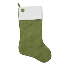 Christmas Stocking with Button and Fleece Cuff