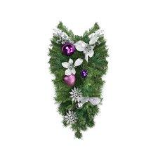 Pre-Decorated Poinsettia, Eucalyptus and Ornament Artificial Christmas Teardrop Swag