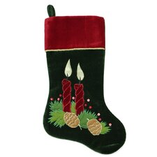 Candle and Pine Cone Christmas Stocking with Velveteen Cuff