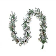 Pre-lit Flocked Victoria Pine Artificial Christmas Garland