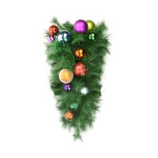 Pre-Decorated Ball Ornament Long Needle Pine Artificial Christmas Teardrop Swag