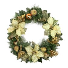 Pre-Decorated Gold Poinsettia, Copper Ball and Twig Artificial Christmas Wreath