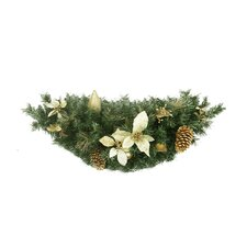 Pre-Decorated Gold Poinsettia, Pine Cone and Pear Artificial Christmas Swag