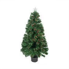 3' Color Changing Fiber Optic Christmas Tree with Red Berries
