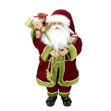 Grand Imperial Standing Santa Claus Christmas Figure with Gift Bag