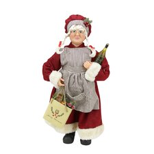 Mrs. Claus the Chef Standing Christmas Figure with Wine and Bag of Treats