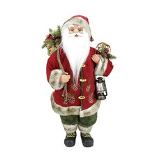 Old World Standing Santa Claus Christmas Figure with Lantern and Snow Shoes
