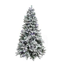 7.5' Flocked Victoria Pine Artificial Christmas Tree with Multi Lights