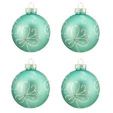 Flower Design Glass Ball Christmas Ornament (Set of 4)