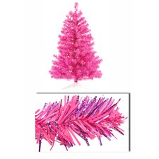 3' Artificial Sparkling Tinsel Christmas Tree with 50 Pink Light