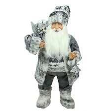 Alpine Chic Standing Santa Claus with a Bag and Lantern Christmas Figure