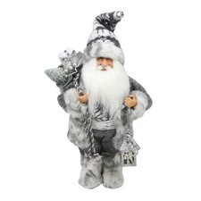 Alpine Chic Standing Santa Claus with Bag and Lantern Christmas Figure