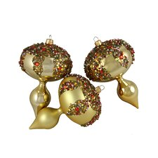 Glitter Sequin Beaded Shatterproof Christmas Finial Ornament (Set of 3)