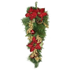 Pine with Ball Poinsettias Pine Cones and Berries Christmas Teardrop Swag with Unlit
