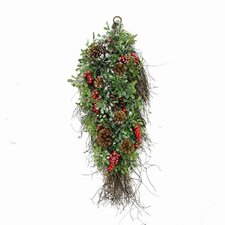 Glittered Artificial Boxwood Pine Cone and Berry Christmas Teardrop Swag with Unlit