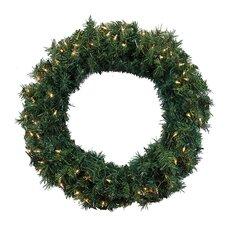 "36"" Lighted Artificial Cedar Pine Christmas Wreath"