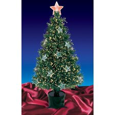 4' Potted Artificial Christmas Tree with Stars Multi Light